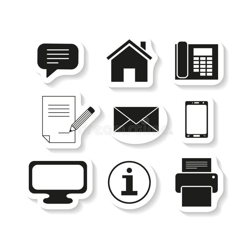 Fije los iconos del mensaje de los contactos de la etiqueta engomada ilustración del vector
