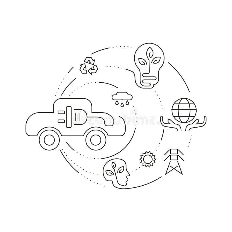 Fije los iconos del negocio de la ecología y del ambiente libre illustration