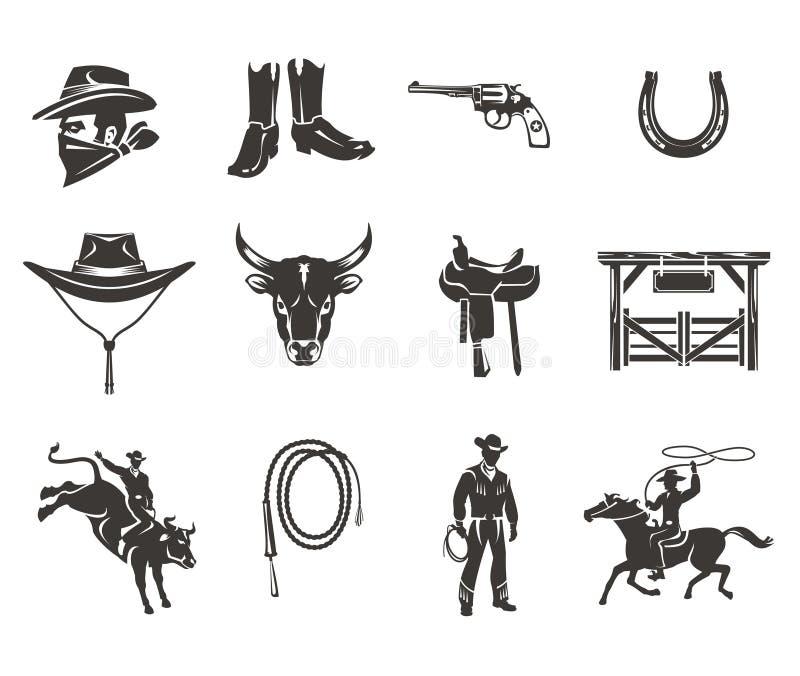 Fije los iconos del rodeo stock de ilustración