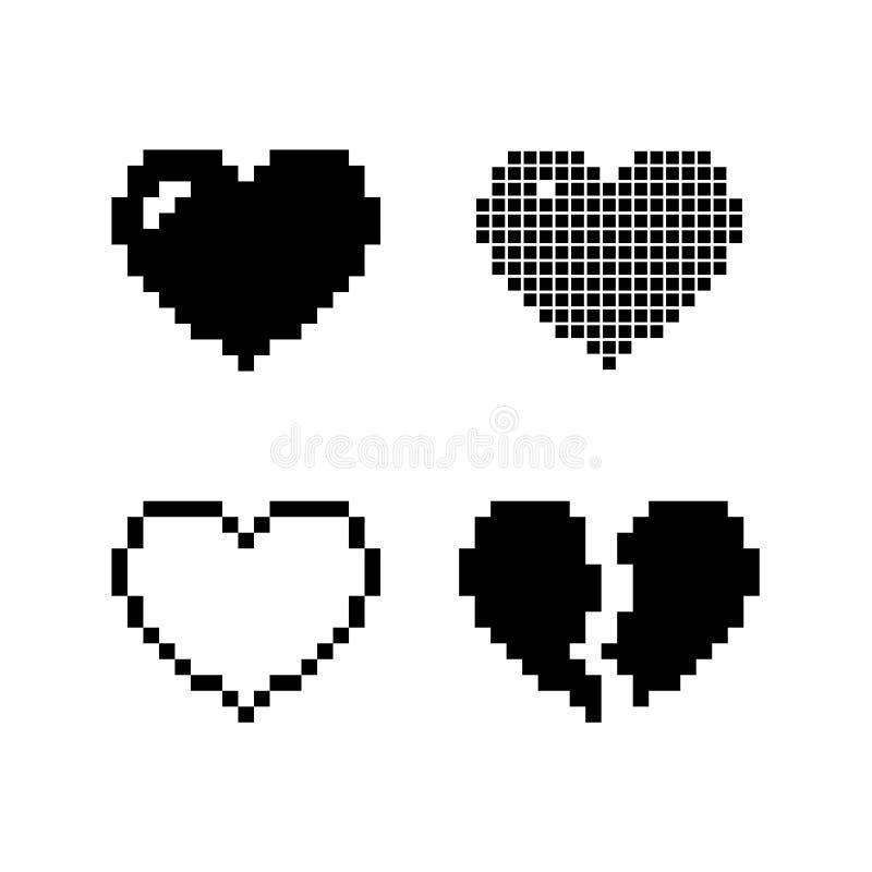 Fije los iconos negros de los corazones del pixel aislados en el fondo blanco Amor romántico ilustración del vector