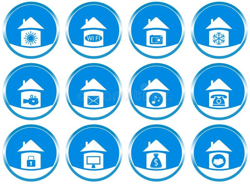 Fije los iconos para el diseño del sitio web stock de ilustración