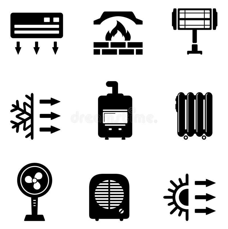 Fije los iconos para el equipo de calefacción libre illustration
