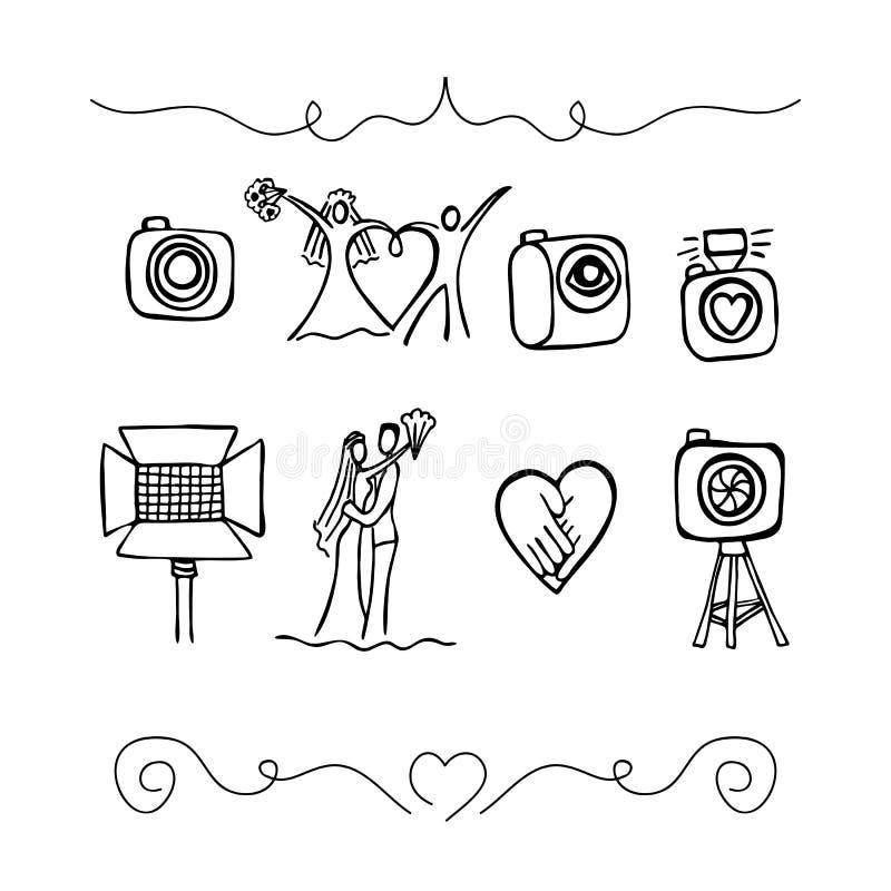 Fije los iconos sobre fotografía de la boda stock de ilustración