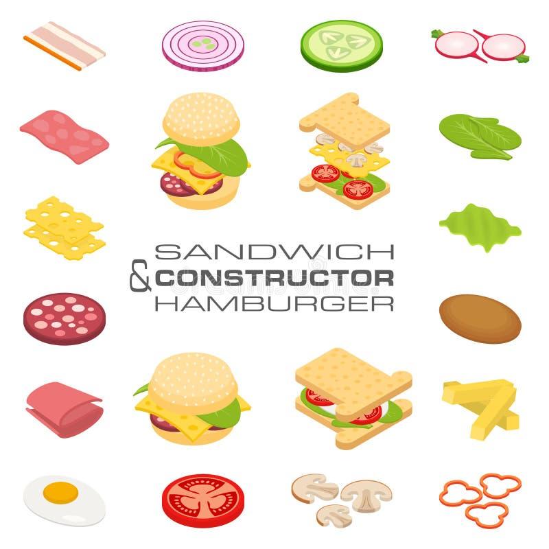 Fije los ingredientes isométricos del bocadillo y de la hamburguesa del constructor del vector ilustración del vector