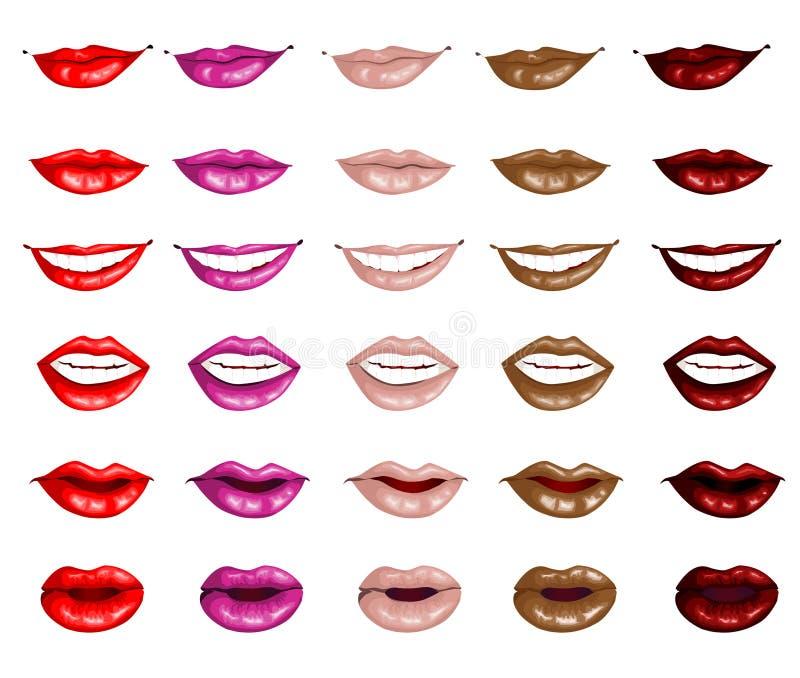 Fije los labios femeninos ilustración del vector
