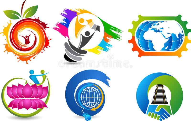Fije los logotipos de la colección stock de ilustración