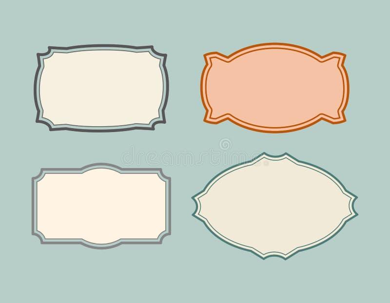 Fije los marcos de la vendimia Tarjeta retra Ilustración del vector libre illustration