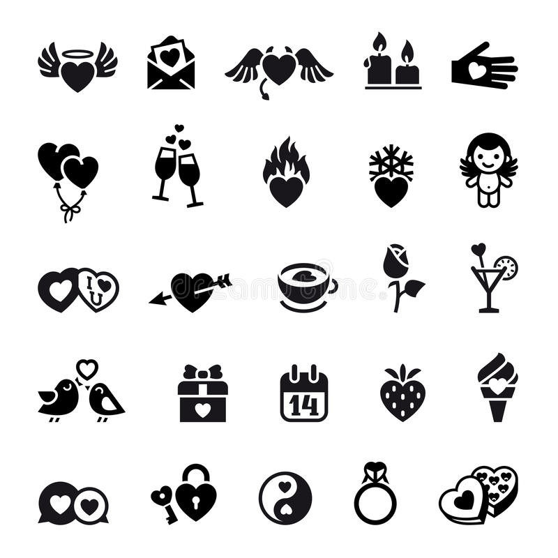 Fije los objetos del día de tarjetas del día de San Valentín, iconos stock de ilustración