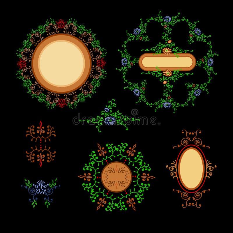 Fije los ornamentos alrededor y el óvalo con el lugar para el texto Elementos del ornamento libre illustration