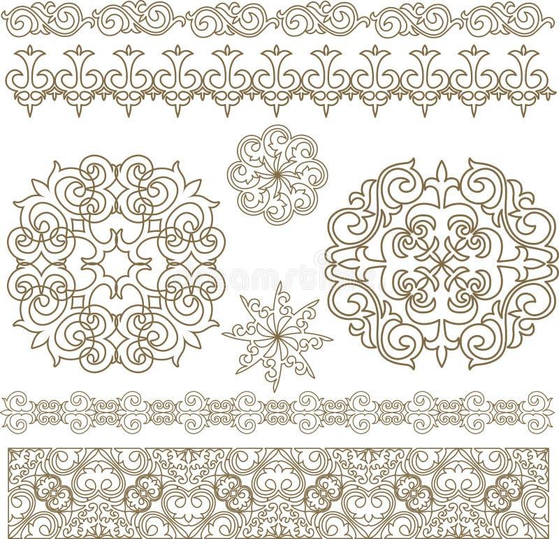 Fije los ornamentos y los modelos asiáticos del Kazakh ilustración del vector