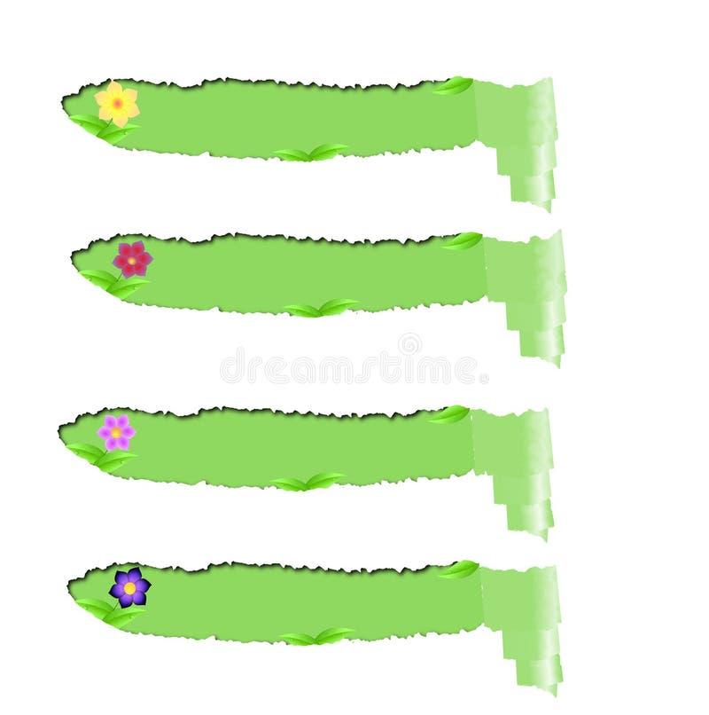 Fije los papeles rasgados con el espacio verde para el texto aislados ilustración del vector