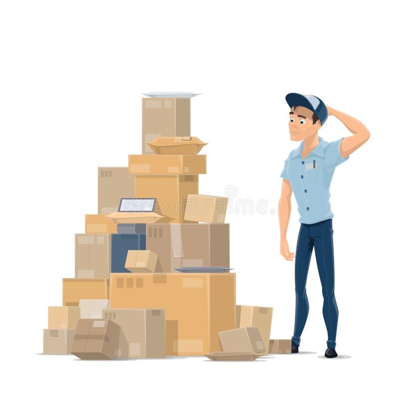 Fije los paquetes del correo y el icono plano del vector del cartero stock de ilustración
