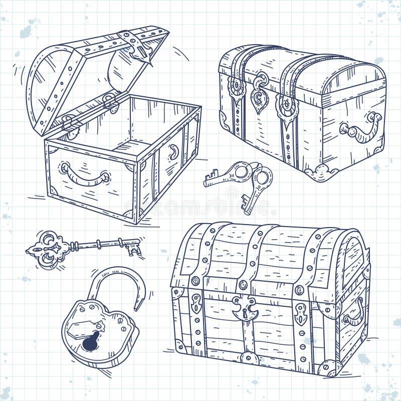 Fije los pechos viejos del pirata de los iconos con la cerradura y llaves ilustración del vector