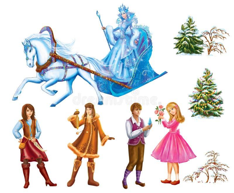 Fije los personajes de dibujos animados Gerda, Kai, árboles de Lappish Womanand para la reina de la nieve del cuento de hadas esc stock de ilustración