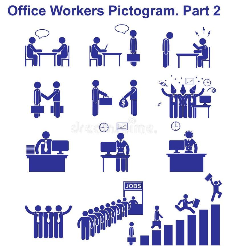 Fije los pictogramas de los oficinistas del vector Iconos del negocio y símbolos de la gente stock de ilustración