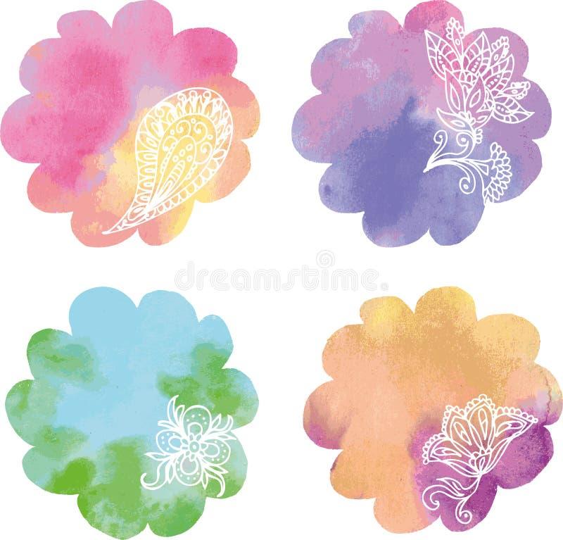 Fije los puntos de la pintura del círculo del arco iris de la acuarela libre illustration