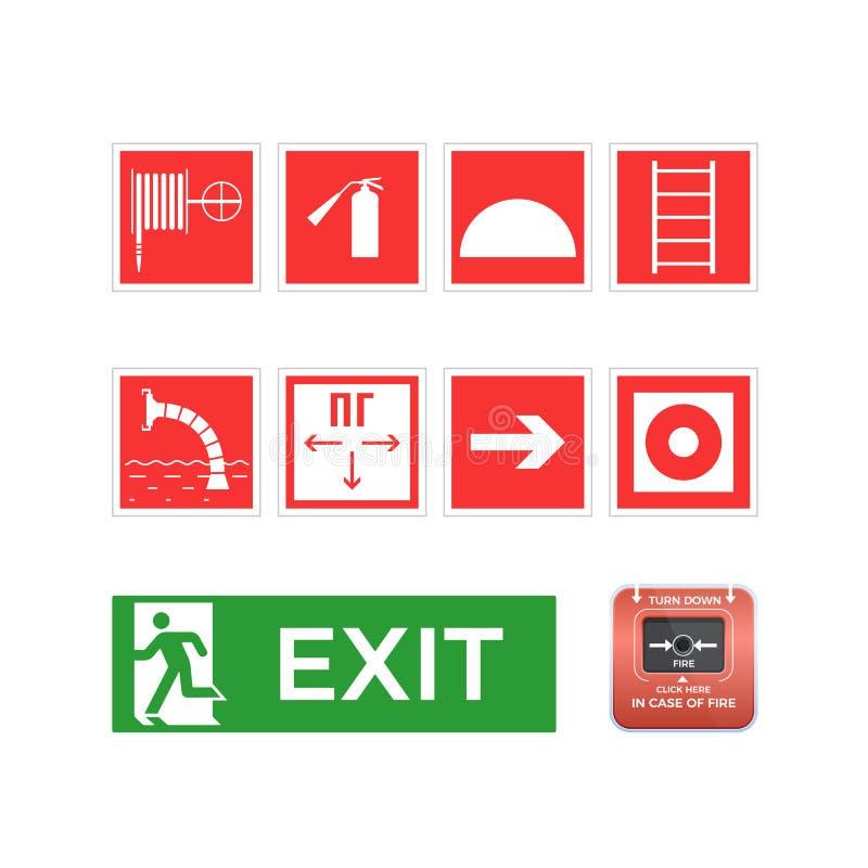 Fije los símbolos, logotipos, iconos, manguera, escalera, salida de emergencia, botón de la alarma ilustración del vector