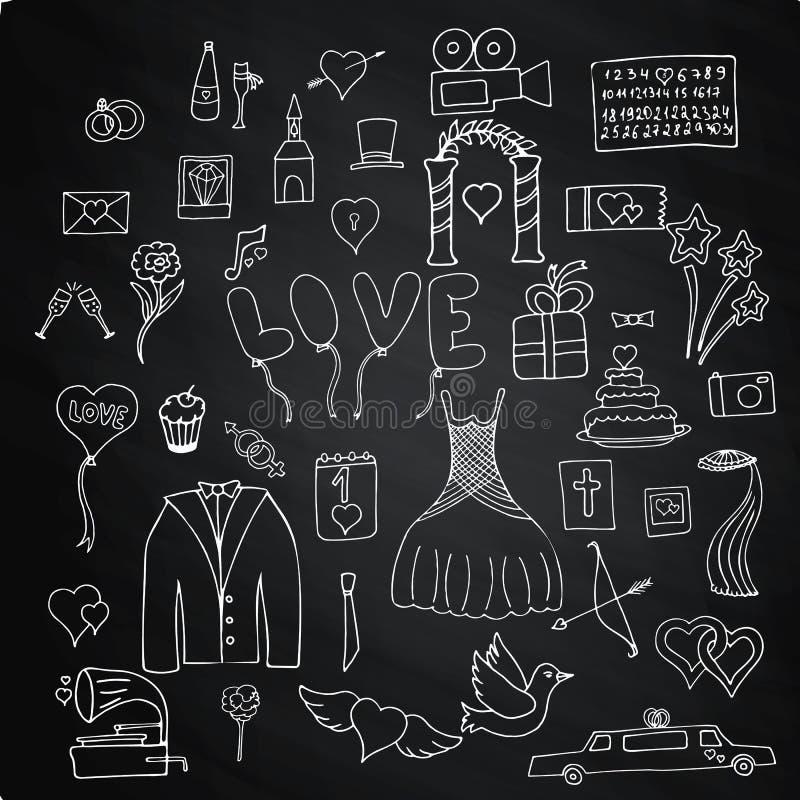 Fije los símbolos y las muestras de la boda en el tablero de tiza stock de ilustración
