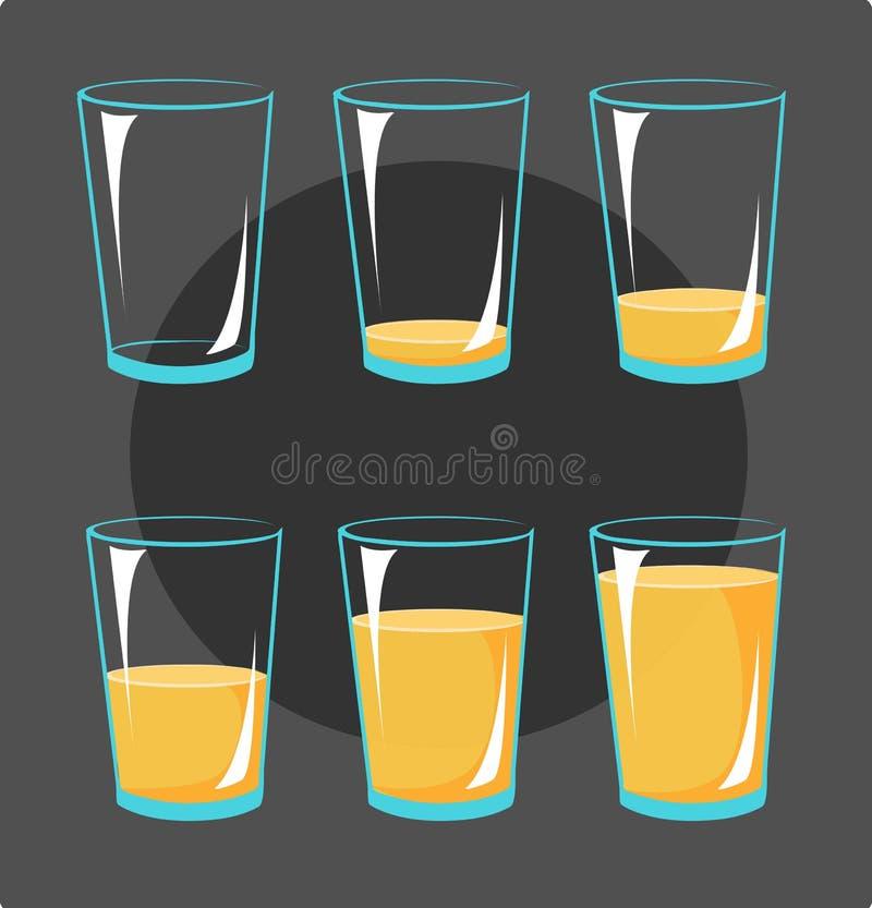 Fije los vidrios con el zumo de naranja - marcos de los iconos de la animación llenos y stock de ilustración