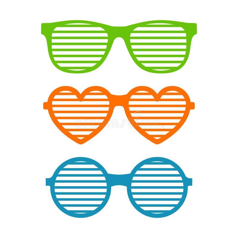 Fije los vidrios del obturador Gafas de sol Brindled o enrejadas, vidrios de la juventud del verano El obturador sombrea la colec ilustración del vector