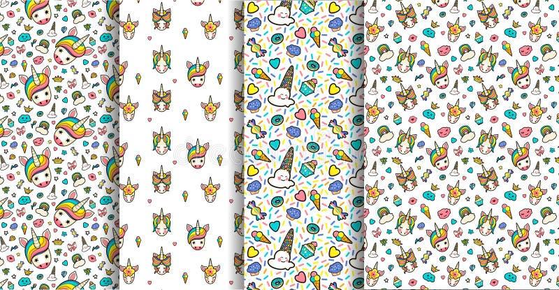 Fije 4 modelos inconsútiles con decorativo con las caras lindas de unicornios, helado, estrellas, corazones, buñuelo, arco iris,  ilustración del vector
