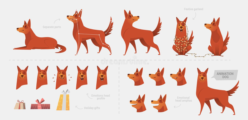 Fije para crear una animación del perro de emociones ilustración del vector