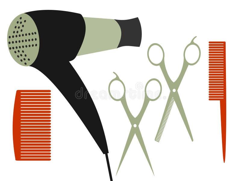 Fije para el corte de pelo stock de ilustración