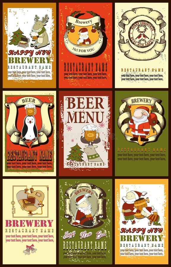 Fije para el diseño de la cerveza con Papá Noel stock de ilustración