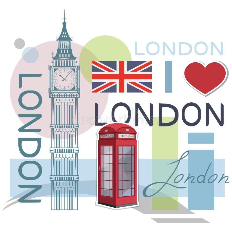 Fije para el diseño en Londres Bandera de Gran Bretaña Torre de Ben grande Cabina de teléfono de Londres stock de ilustración