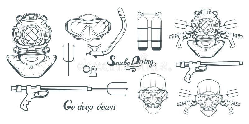 Fije para el diseño en el salto Logotipo del buceo con escafandra Buceador con el equipo de submarinismo Casco del buceo con esca libre illustration