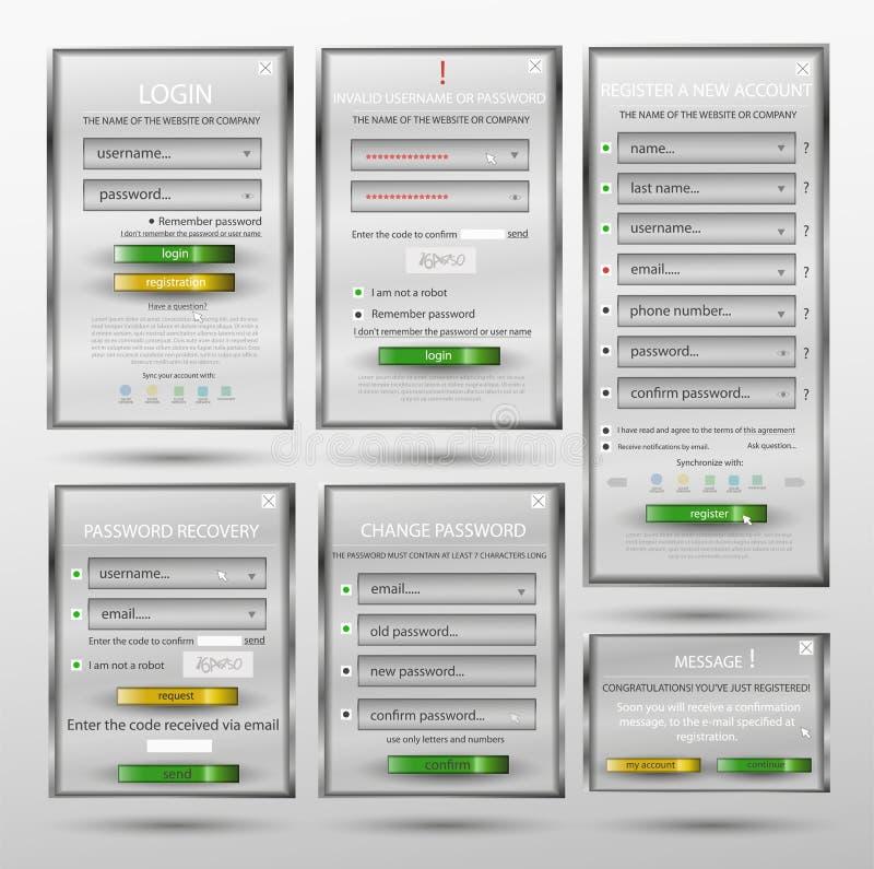 Fije para el diseño web, formulario de inicio de sesión, boletín de inscripción, forma, contraseña del cambio de la forma, recupe ilustración del vector