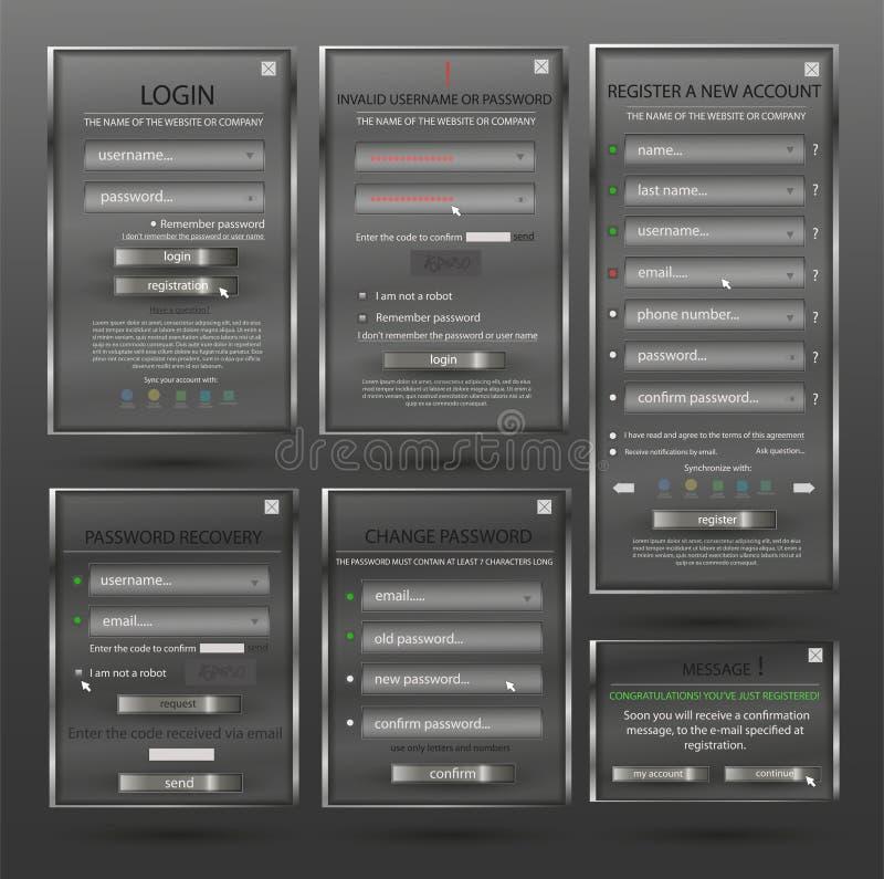Fije para el diseño web, formulario de inicio de sesión, boletín de inscripción, forma de la contraseña del cambio de la forma, r libre illustration