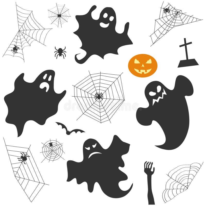 Fije para Halloween Un fantasma, una araña con un web de araña, una calabaza, una cruz grave, una mano del zombi ilustración del vector
