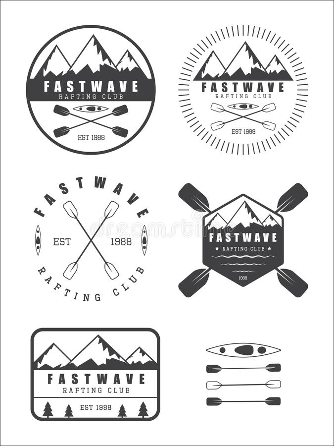 Fije si vintage que transporta el logotipo, etiquetas e insignias en balsa libre illustration
