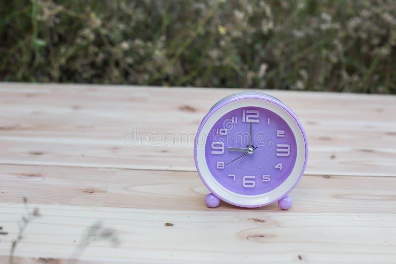 Fije sus relojes detrás con este reloj en hierba contra un concepto brillante del horario de verano imagenes de archivo