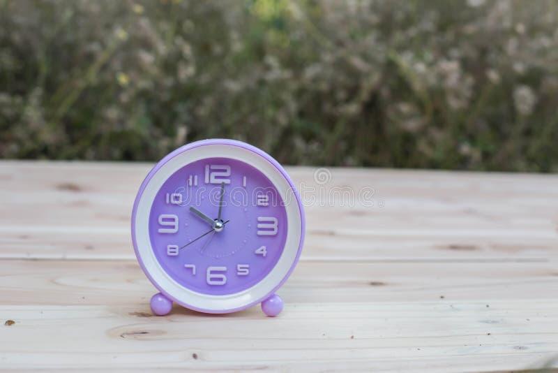 Fije sus relojes detrás con este reloj en hierba contra un concepto brillante del horario de verano imágenes de archivo libres de regalías