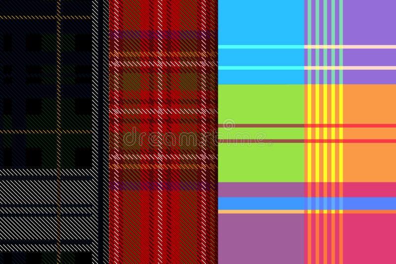 Fije tres modelos Modelo del tartán Fondo rojo con las rayas azules, blancas, amarillas, verdes, negras y rojas Reloj negro TA mi ilustración del vector