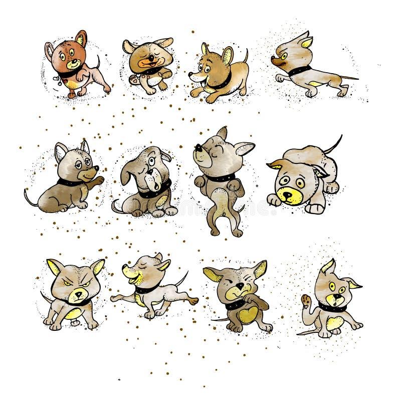 Fije un perro de emociones Diversas posturas del cuerpo Vista delantera, ilustración del vector
