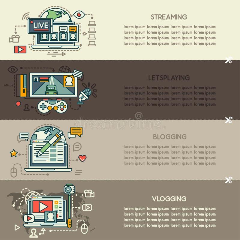 Fije veintitrés de banderas de la tecnología de Internet libre illustration
