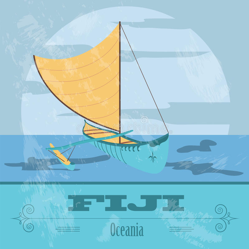 fiji Canoë-kayak de Fijian Rétro image dénommée illustration stock