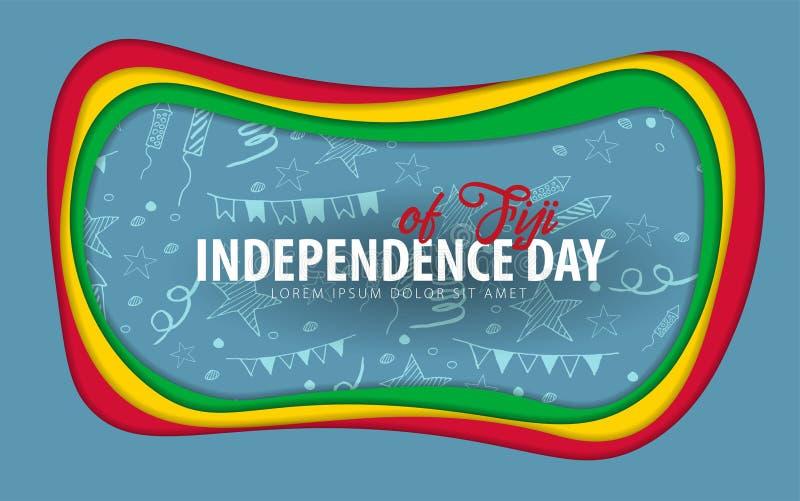 fiji Carte de voeux de Jour de la Déclaration d'Indépendance style de coupe de papier illustration libre de droits