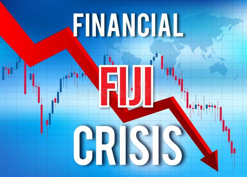 Fiji Financial Crisis Economic Collapse Market Crash Global Meltdown. Illustration stock illustration