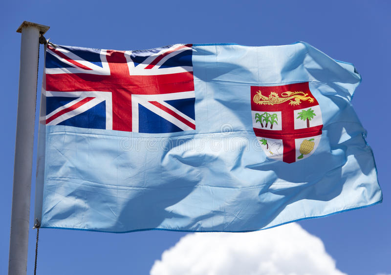 Fiji Flag. The close view of Fiji flag in a morning light (Lautoka, Fiji royalty free stock images