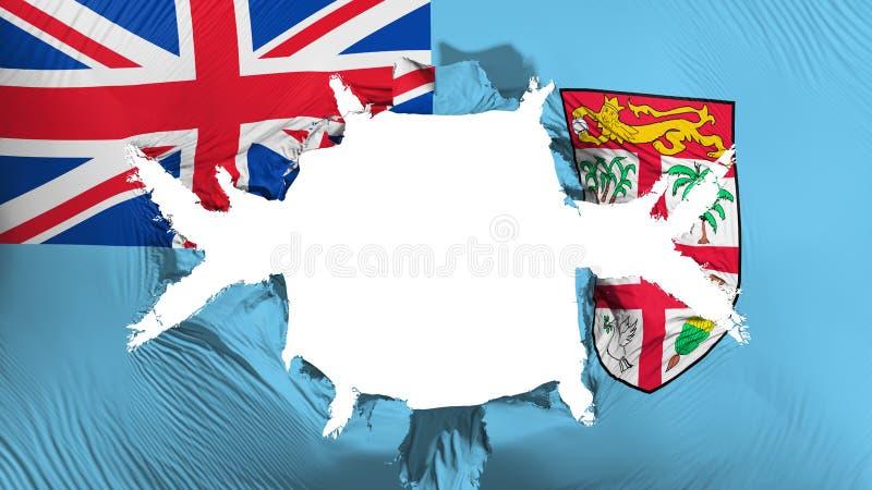 Fiji flaga z dużą dziurą royalty ilustracja