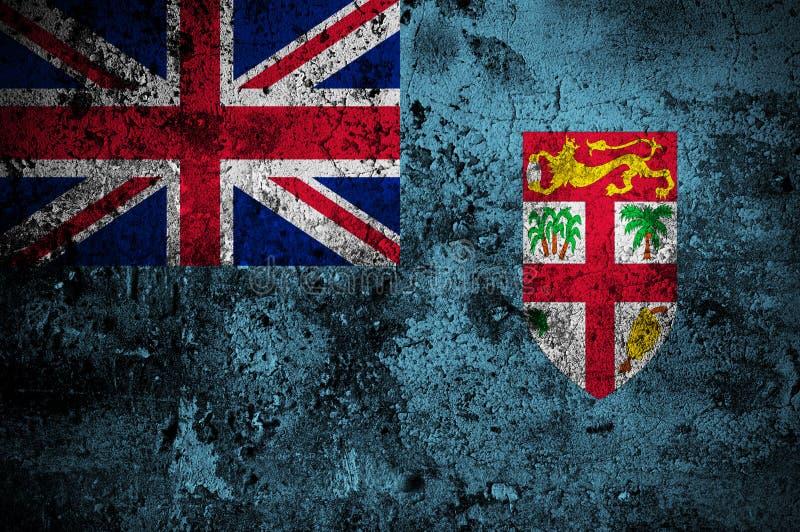 fiji flaggagrunge royaltyfri illustrationer