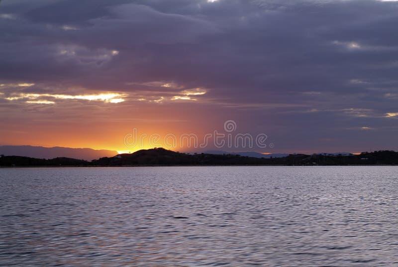 Fiji Island, sunrise. Fiji, sunrise over Malolo Lailai island royalty free stock image