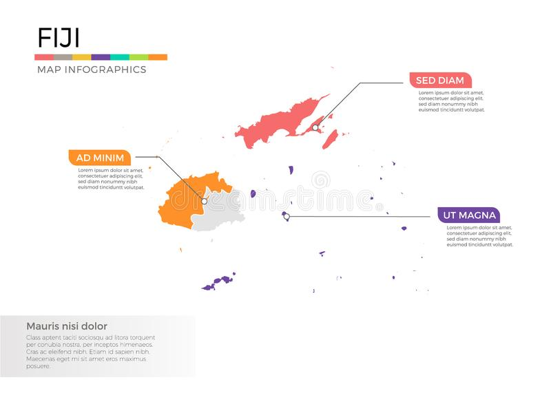 Fiji map infographics vector template with regions and pointer marks. Fiji map info-graphics vector template with regions, districts, state, country isolated in royalty free illustration