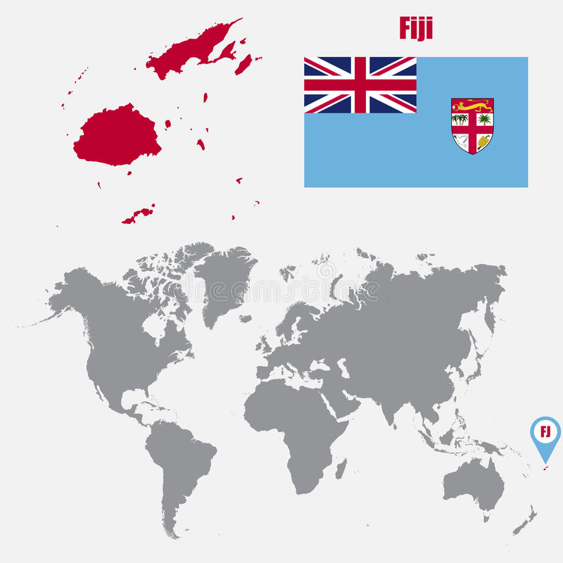 Fiji map on a world map with flag and map pointer vector download fiji map on a world map with flag and map pointer vector illustration stock gumiabroncs Gallery