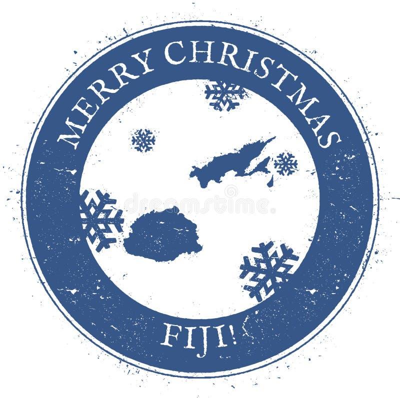 Fiji mapa Roczników Wesoło bożych narodzeń Fiji znaczek royalty ilustracja