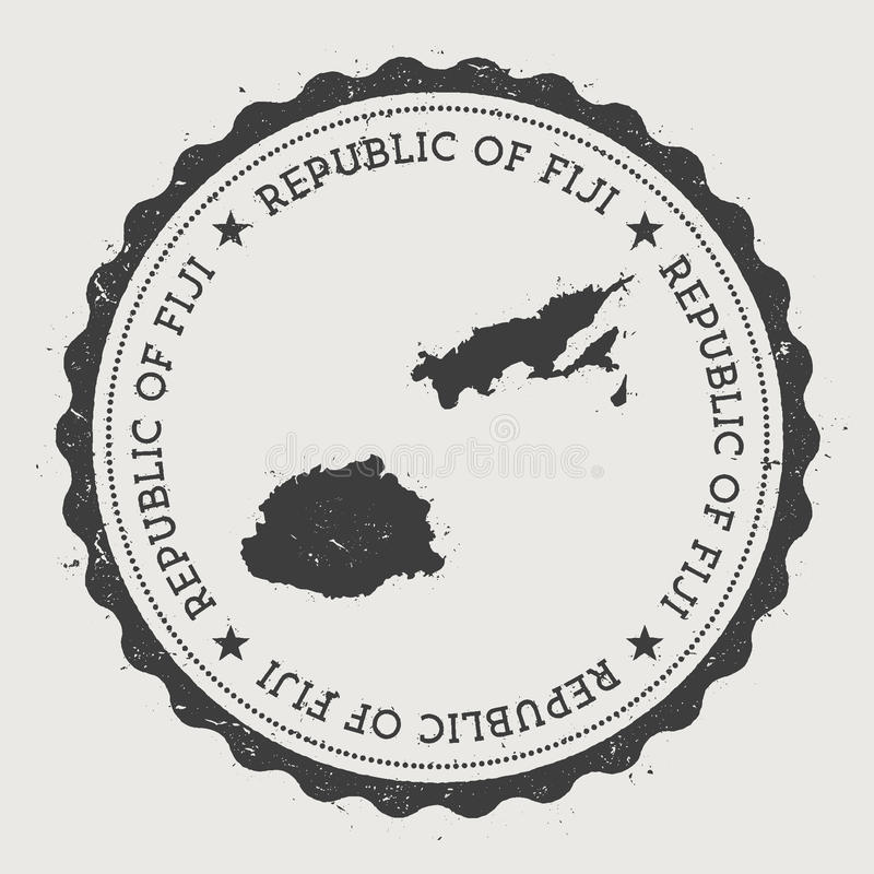 Fiji modnisia round pieczątka z kraj mapą ilustracja wektor
